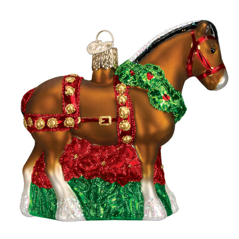 "Old World Christmas ""Holiday Clydesdale"" Glass Ornament"