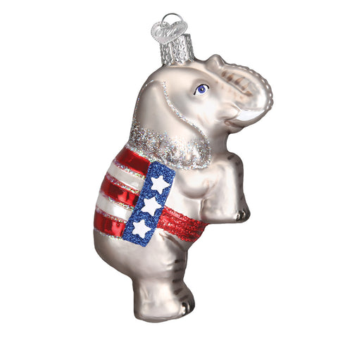 "Old World Christmas ""Republican Elephant"" Glass Ornament"