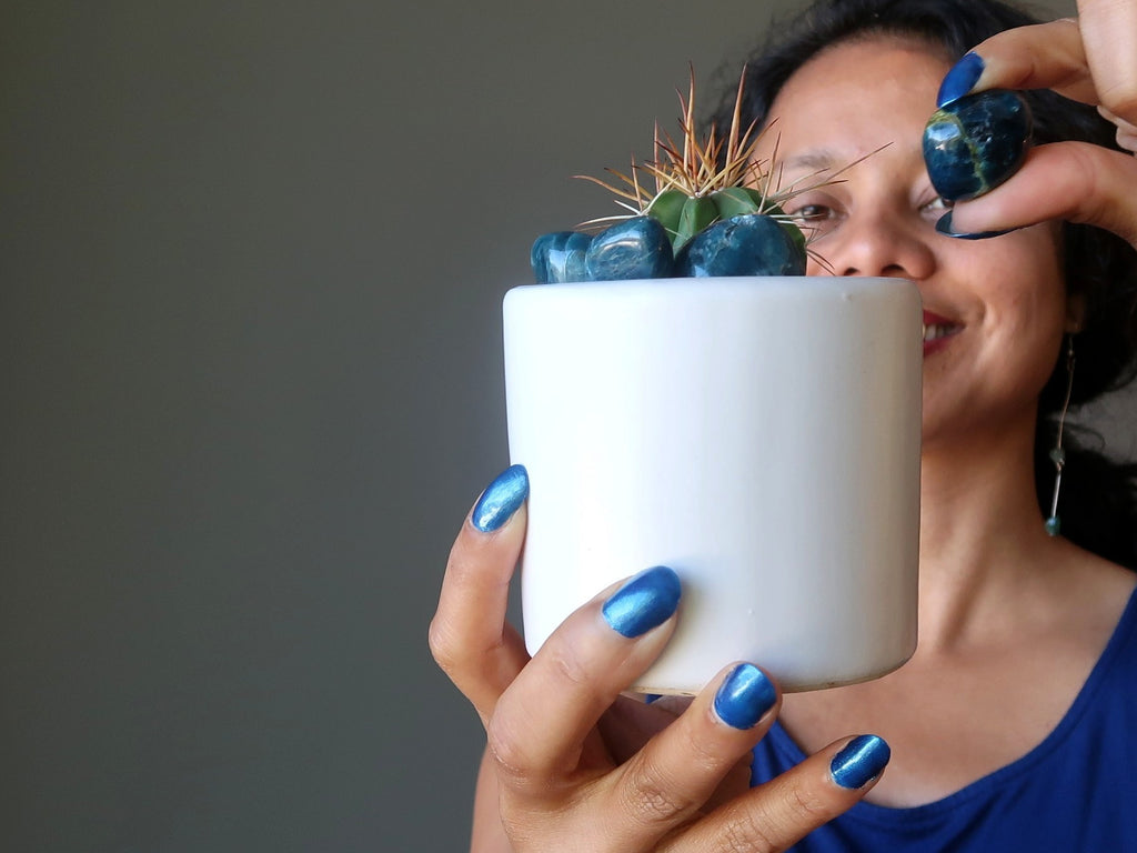 sheila of satin crystals placing blue apatite tumbled stones in a potted cactus plant