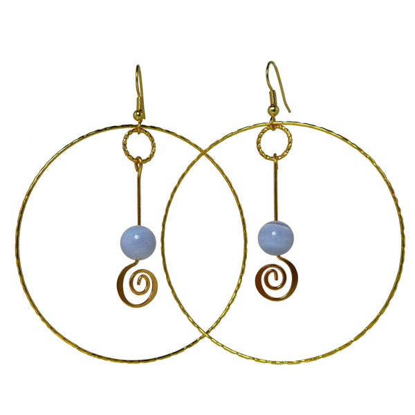 "Agate Blue Lace Earrings 3.3"" Deluxe Banded Gemstone Gold Spiral Crop Circle Big Hoops B01"