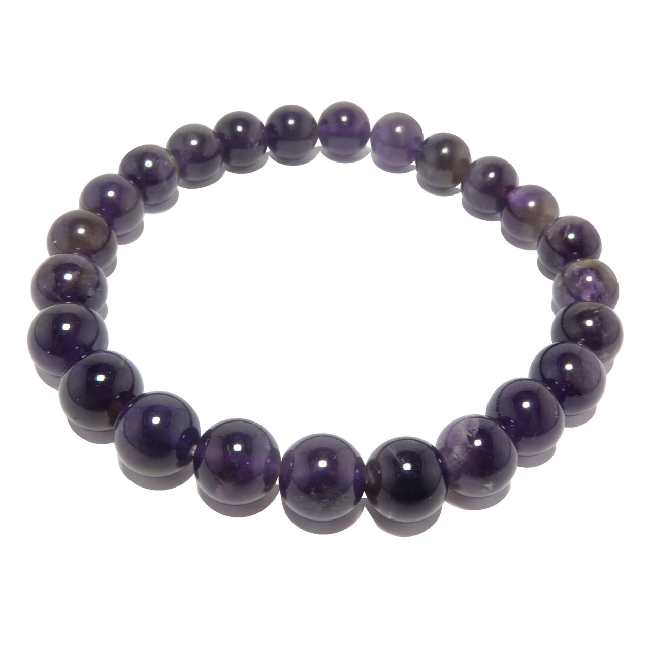 Amethyst Bracelet 7mm Dark Purple Round Stretch Spiritual Gem Crystal Healing Birthstone B01
