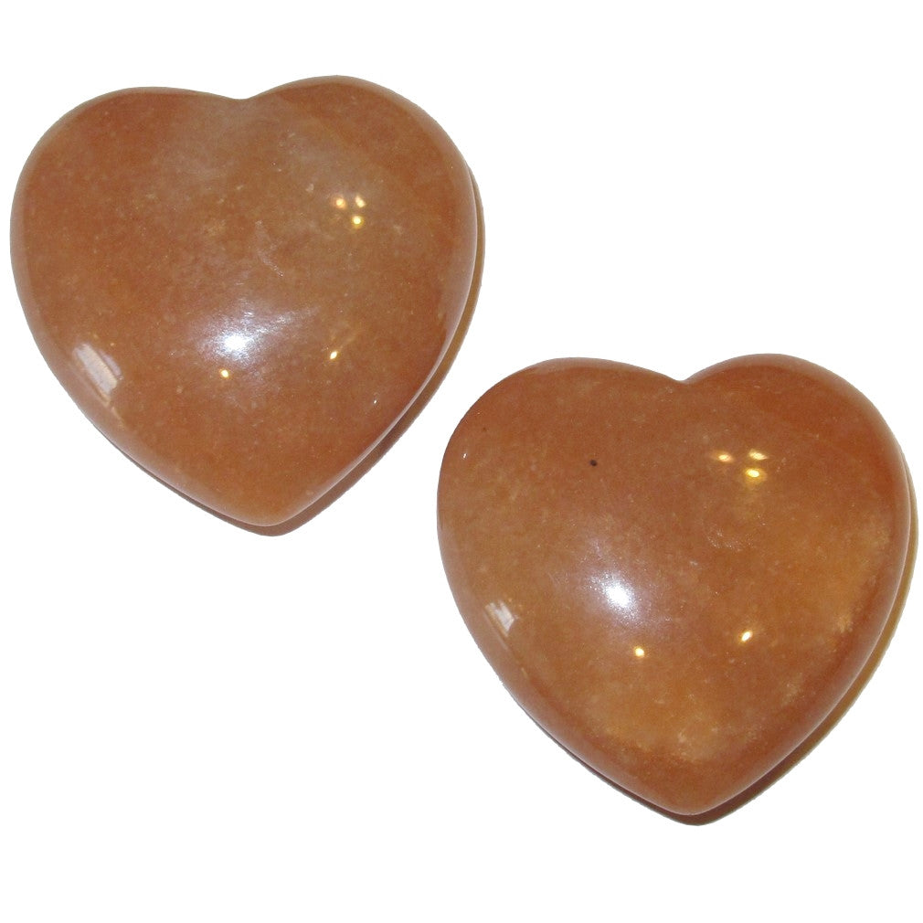Aventurine Heart Orange 02 Set of Second Sacral Chakra Love Passion Healing Stones 1.8""