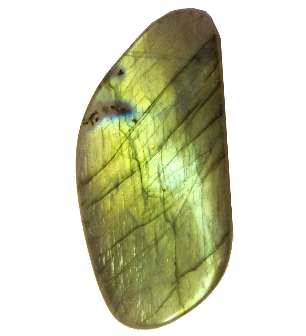 Labradorite Polished Stone 11 Golden Rainbow Potato Chip Fine Cut Translucent Crystal 2.4""