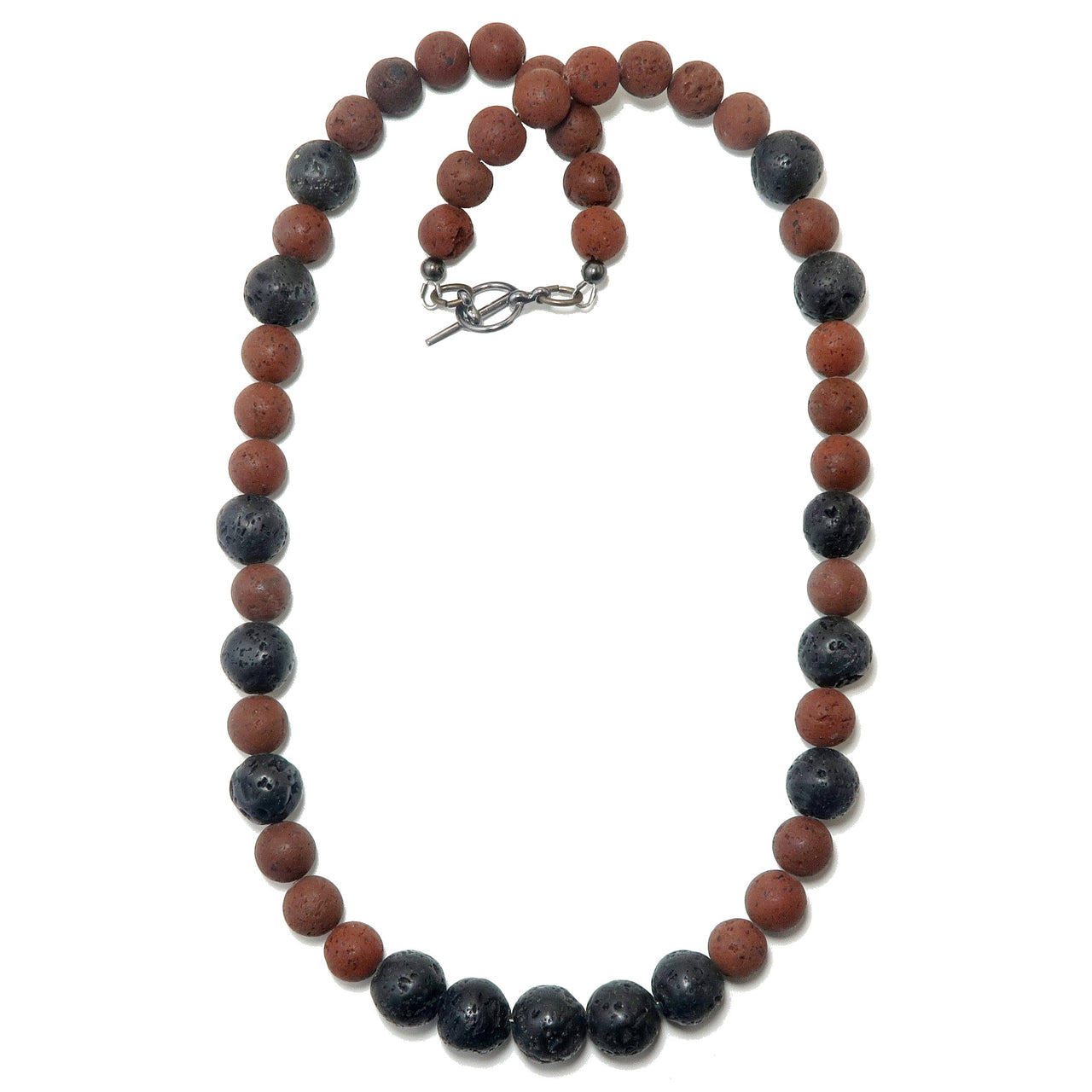 "Lava Necklace 20"" Red & Black Organic Stone Round Earthy Essential Oil Diffuser Unisex B01"