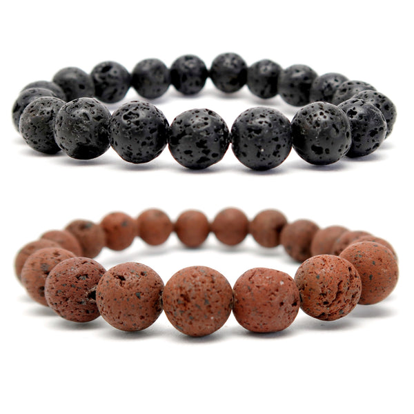 set of 2 lava stretch bracelets including natural black and rusty red. beaded round volcanic stone jewelry handmade at satin crystals