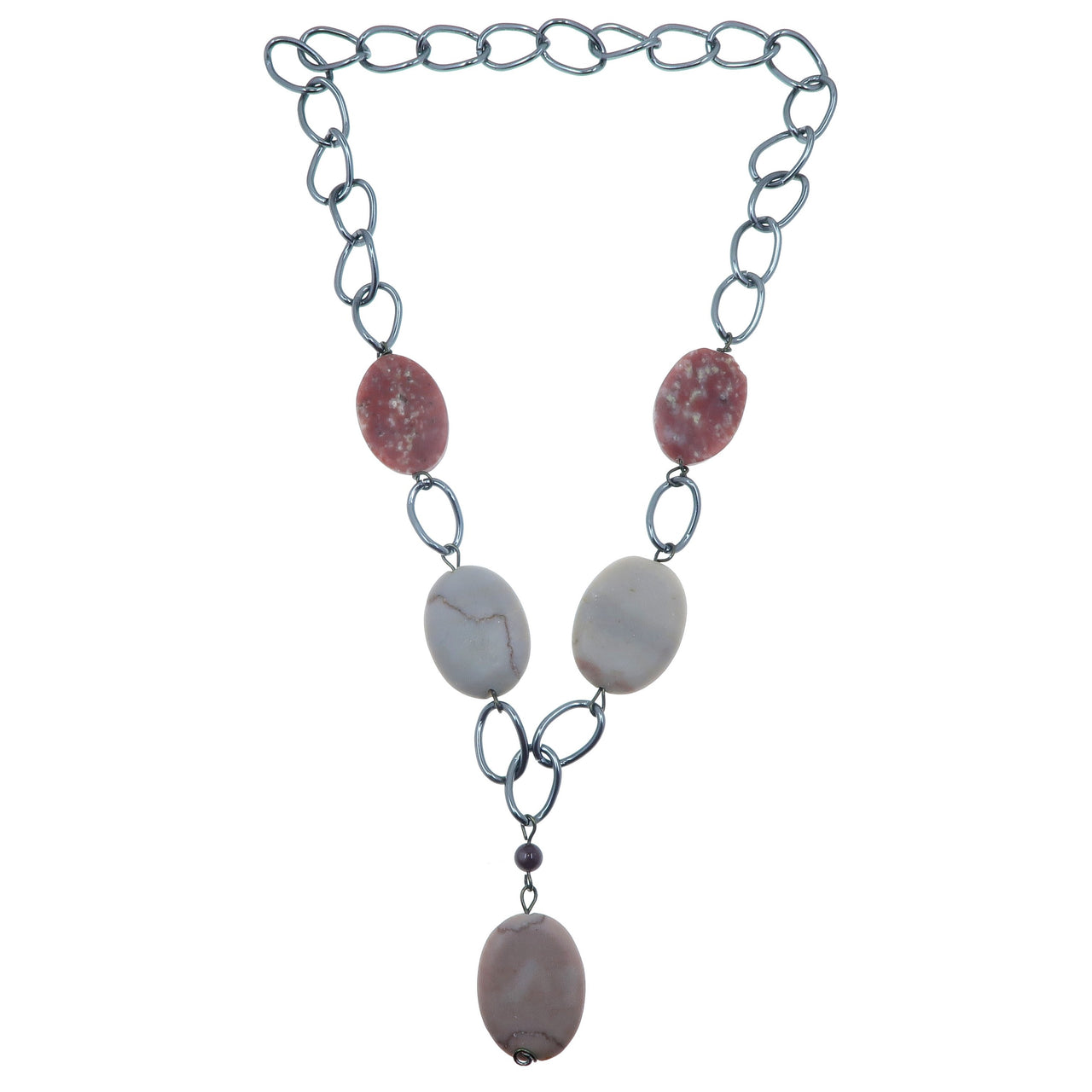 "Lepidolite Necklace 24"" Specialty One-of-Kind Claspless Gunmetal Chain Pink Stone Marble S01"