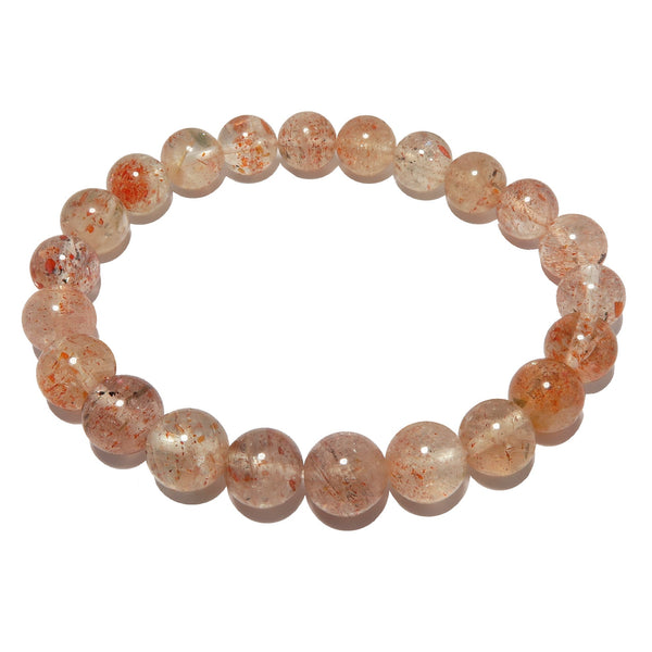 Sunstone Bracelet 7mm Shimmering Red Round Gemstone Stretch Happiness Crystals B01