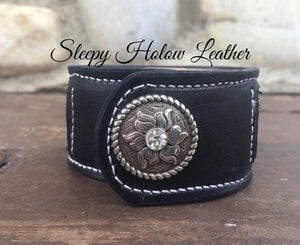 Sleepy Holow Leather bead inlay cuff handmade, alberta, western, custom made, concho closure