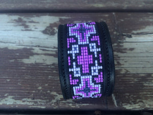 Sleepy Holow Leather bead inlay cuff handmade, alberta, western custom