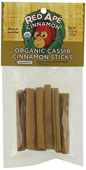 Red Ape Cinnamon Pure Organic Cassia Cinnamon Sticks, 1.12 Ounce Bag - Snazzy Gourmet
