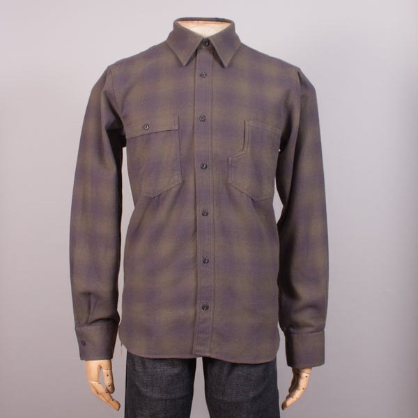 Olive Check Flannel Work Shirt - J. Cosmo Menswear