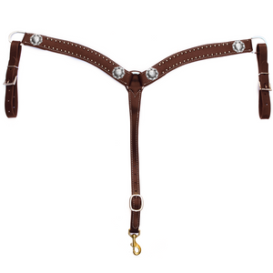 """California"" Dotted Chocolate Harness Breast Collar 2"" - Andrea Equine"
