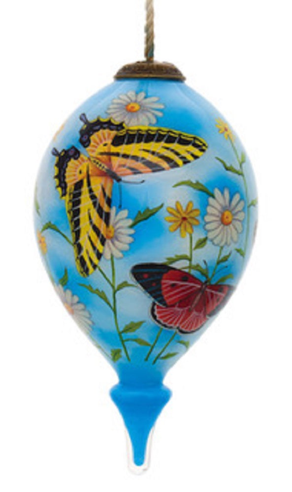Heavenly Daisies with Butterflies Hand Painted Christmas Ornament