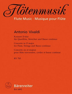 Vivaldi Antonio	Concerto for Flute in D (RV783) (first edition).