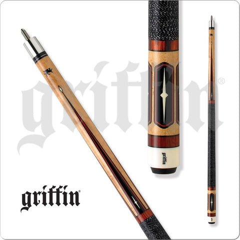 Griffin Pool Cue - GR04 - Cherry Stain Points With Black Wrap - absolute cues
