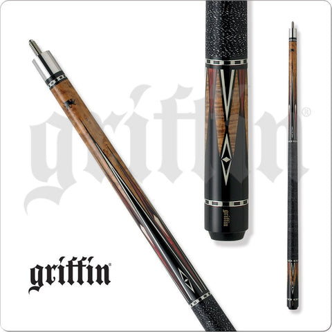 Griffin Pool Cue - GR17 - Brown Stain - Black, White, Cherry Diamonds - absolute cues
