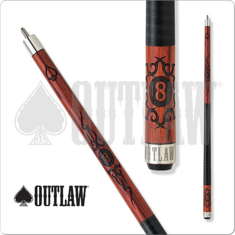 Outlaw Pool Cue - OL20 - Cherry Stain - 8Ball With Tribal Flames - absolute cues