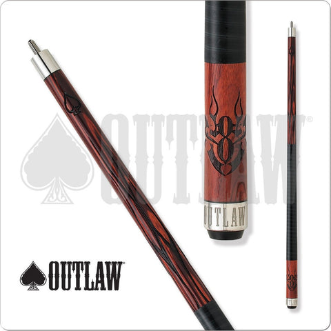 Outlaw Pool Cue - OL21 - Cherry Stain - 8Ball in Flames, Wraped - absolute cues