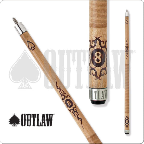 Outlaw Pool Cue - OL08 - Brown Maple - 8Ball with Tribal Barbedwire - absolute cues