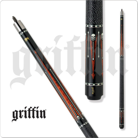 Griffin Pool Cue - GR30 - Black and Brown with Skull Head Designs - absolute cues
