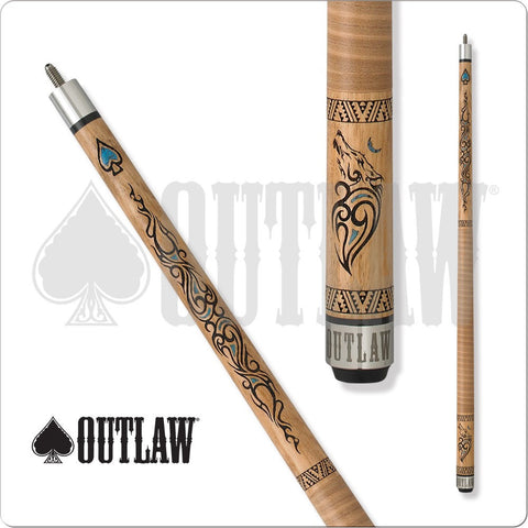 Outlaw Pool Cue - OL33 - Outlaw Thunder - Wolf - Turquoise Accents - absolute cues