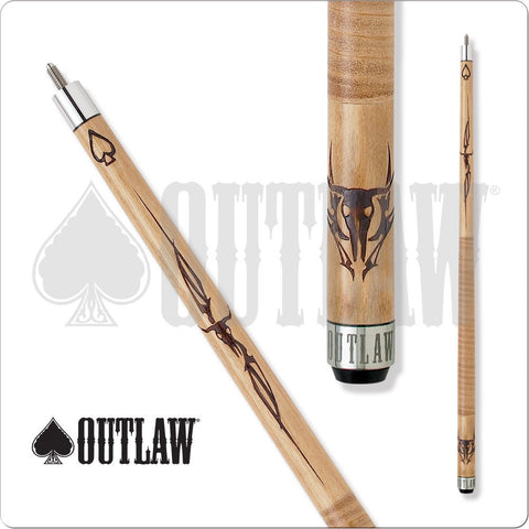 Outlaw Pool Cue - OL11 - Brown Maple - Cow Skull with Spade - absolute cues