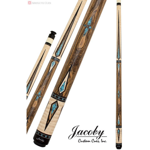 Jacoby Pool Cues, HB7, Bacote With Tiger Stripe Maple, Low Deflection - absolute cues