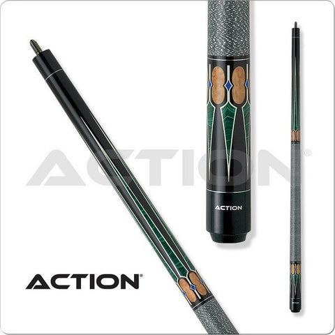 Action Pool Cues - Exotic Series - ACT131 - Green Wrap - absolute cues