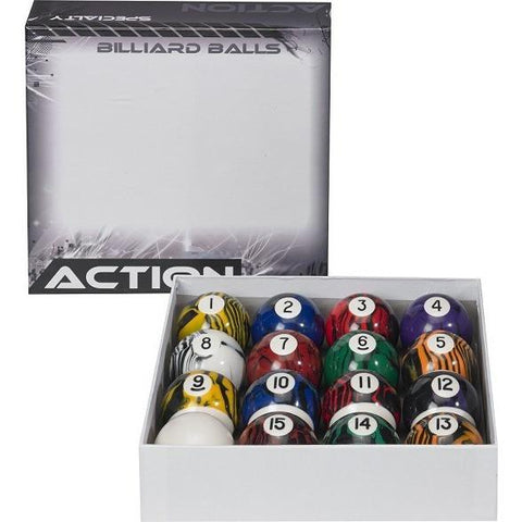 Action Billiard Balls -  BBBM - Black Marble Ball Set - absolute cues