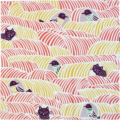 "18"" kata kata Furoshiki Black Cat Bird Pink"