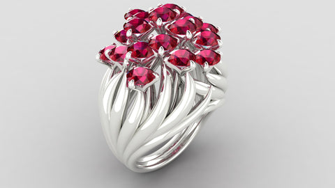 Laykin et Cie Hot to Touch Flame Ring in Rubies
