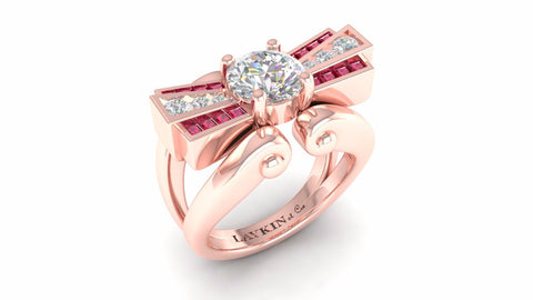 Laykin et Cie Mocambo Ring in Rose Gold with Diamonds and Ruby