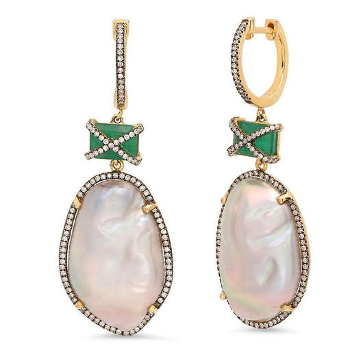 Emerald and Pearl Diamond Earrings | Harrisons Collection