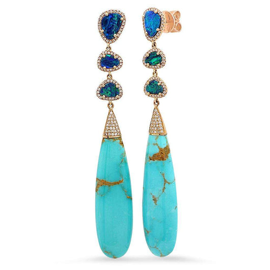 Opal and Turquoise Diamond Earrings | Harrisons Collection