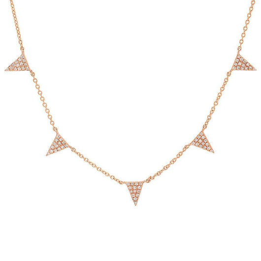 Multi Diamond Hanging Triangle Necklace | Harrisons Collection