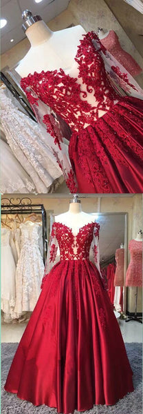 2017 A-line off shoulder red lace long sleeves prom dress, BD7586