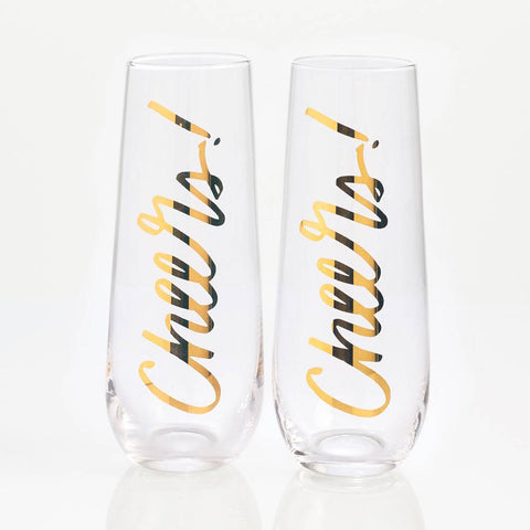 Cheers Stemless Champagne Glasses-Palm & Pine Party Co.