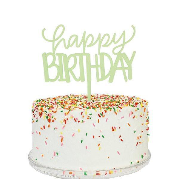 Happy Birthday Cake Topper (green)-Palm & Pine Party Co.