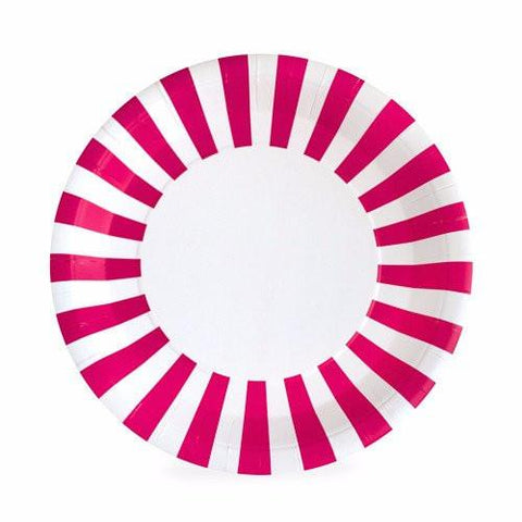 Stripe Large Party Plates (hot pink)-Palm & Pine Party Co.