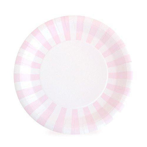 Stripe Large Party Plates (pink)-Palm & Pine Party Co.
