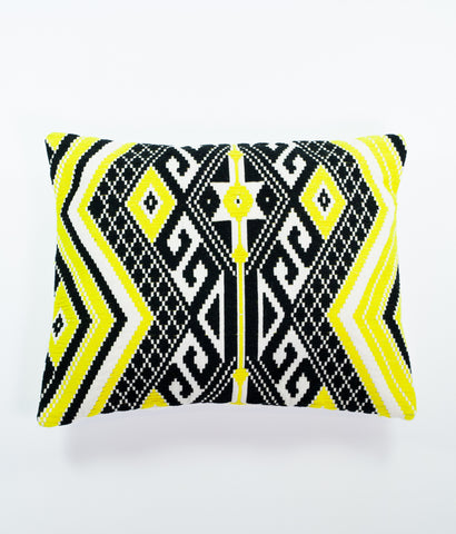 Nomad black and yellow rectangular Aztec cushion
