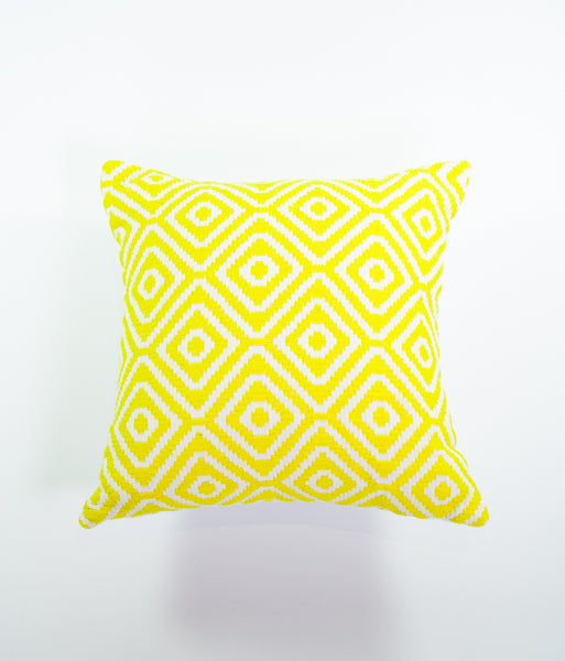 Carnaval yellow geometric square cushion