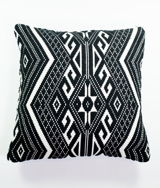 Nomad monochrome Aztec-style square cushion