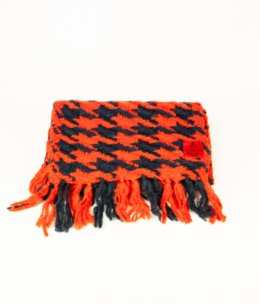 Indigo and orange dogtooth cosy knit scarf