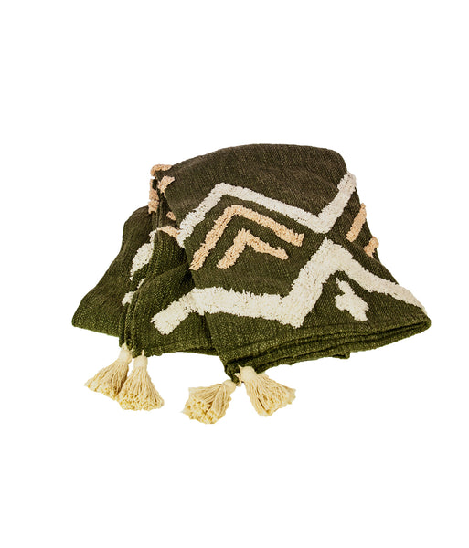 Khaki geometric tufted throw