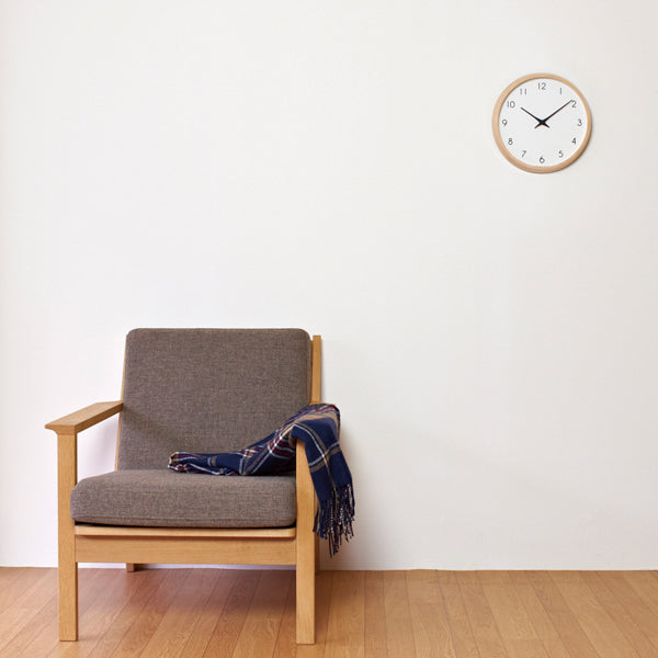 Simple, white and plywood wall clock. Made in Japan. Brook Farm General Store