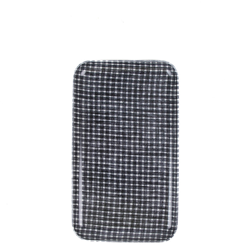 Linen Tray - Dark Blue and White Squares Sm