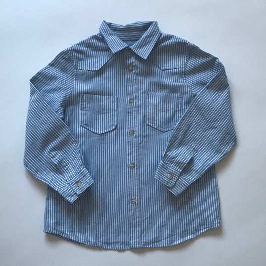 Bonpoint Blue And White Stripe Shirt