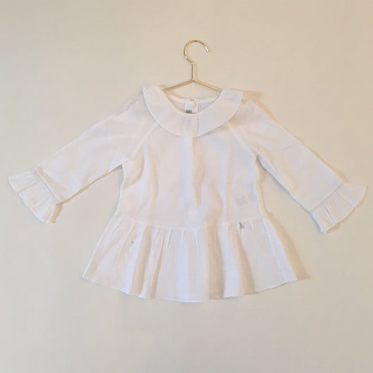 Nanos White Crepe Cotton Blouse With Frill Collar