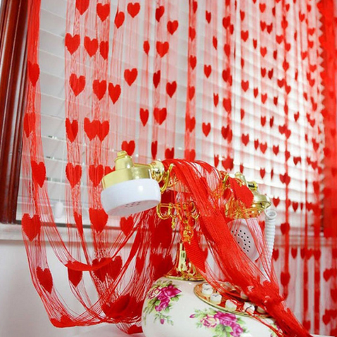 Heart Panel Line String Tassel Curtain